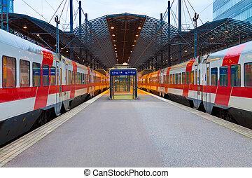 helsinki, station, ferroviaire, finlande, central