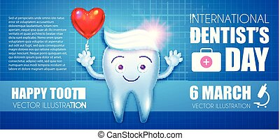 Helthy Tooth with Toothpaste and Glossy Heart Balloon Flyer Template . Cartoon Character. Stomatology Design Template. Dental Health Concept. Oral Care.