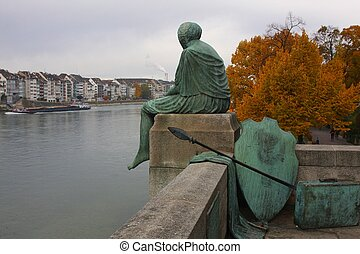 Helvetia - Statue of Mythical Figure Helvetia in Basel,...
