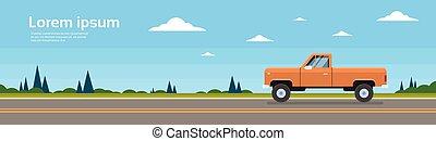 hely, autó, gyorsulás teherkocsi, másol, transzparens, út
