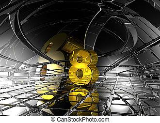hely, elvont, -, szám, vakolás, nyolc, futuristic, 3
