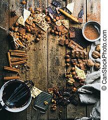 hely, fából való, felett, főzés, csokoládé, falusias, csípős, háttér, alkatrészek, másol