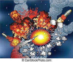 hely, robbanások