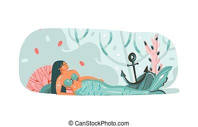hely, víz alatti, nyár, állás, másol, grafikus, sablon, művészet, hableány, elszigetelt, vektor, karikatúra, kéz, idő, leány, óceán, fenék, ábra, húzott, szépség, elvont, szöveg, -e, háttér, fehér