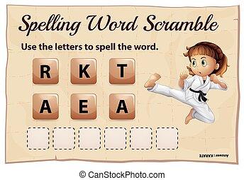 helyesírás, szó, tülekedés, helyett, szó, karate