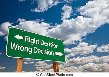 helyes, elhatározás, rossz elhatározás, zöld, út cégtábla