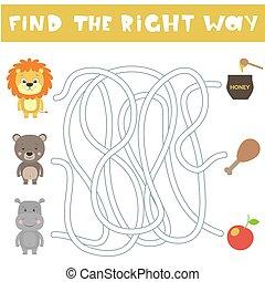 helyes, gyerekek, ábra, animals., játék, vektor, way., karikatúra, talál