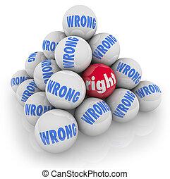 helyes, opció, alternatívák, válogatott, rossz, labda,...