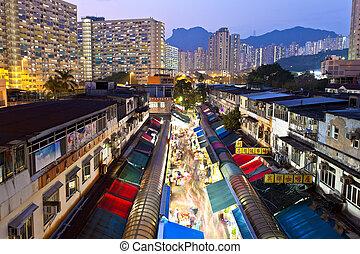 helyi piac, alatt, hong kong, éjjel