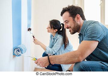 helyreállítás, diy, festék, párosít, alatt, új családi, festmény közfal, együtt