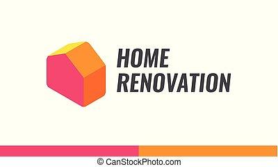 helyreállítás, szolgáltatás, épület, ábra, vektor, otthon, jel, átalakít