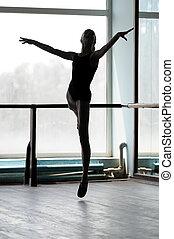 helyzet, balett-táncos, mérlegállás