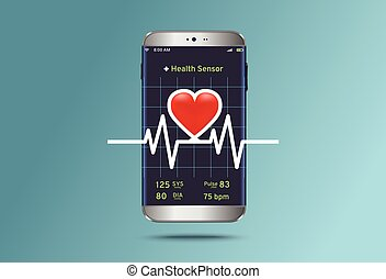 helyzet, kardiogram,  smartphone, lehallgatás,  modern
