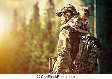 hem, återgå, soldat