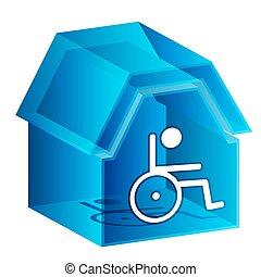 hem, 3, sjukvård, ikon