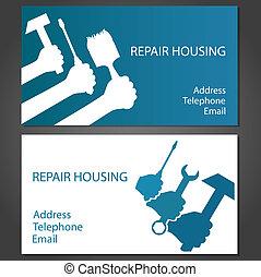 hem- affär, kort, reparera