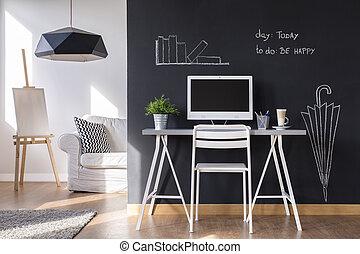 hem- arbete, område, minimalist