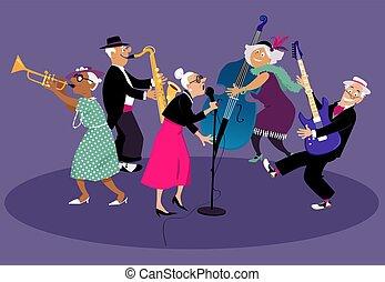 hem, band, avgång, jazz