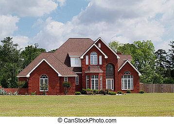 hem, bostads, berättelse, tegelsten, två