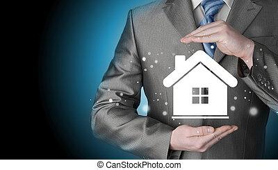 hem, concept., försäkring
