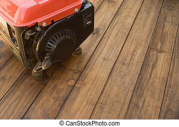 hem, driva, reserv, elektricitet, generator, på, trä tabell,...