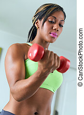 hem- fitness, negress, tåg, biceps, med, vikter