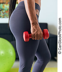 hem- fitness, negress, utbildning, biceps, med, weights-2