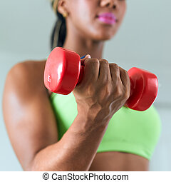 hem- fitness, negress, utbildning, biceps, med, weights-3