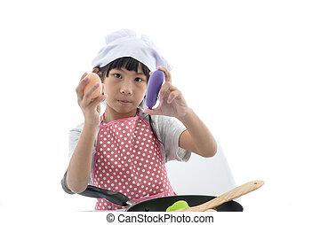 hem, flicka, matlagning, asiat