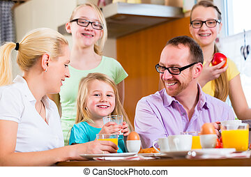 hem, frukost, ha, familj, kök