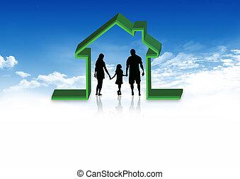 hem, kassaskåp, silhuett, familj