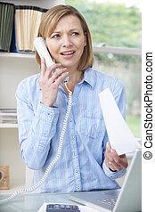 hem, kvinna, telefon, kontor