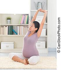 hem, kvinna, yoga, avkoppling