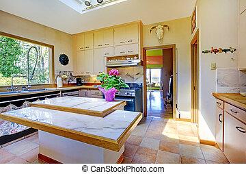 hem, lysande, trevlig, vit, kök