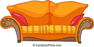 hem, möblemang, tecknad film, soffa