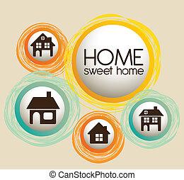 hem, och, familj, ikonen