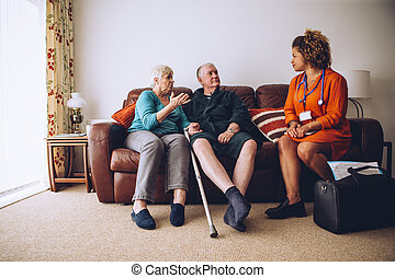 hem, par, äldre, carer