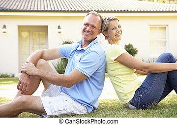 hem, par, dröm, utanför, sittande