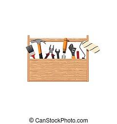 hem reparerar, sätta, redskapen, toolbox.