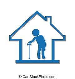 hem, sjukvård, illustration, symbol