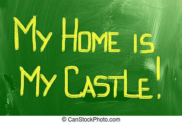 hem, slott, begrepp, min