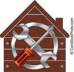 hem, symbol, affär, reparera