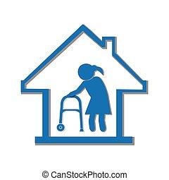hem, symbol, sjukvård, illustration, ikon