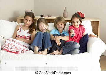 hem, television, barn, ung, hålla ögonen på
