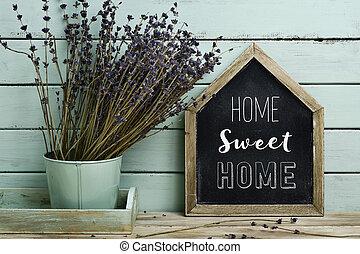 hem, text, söt, skylt, house-shaped