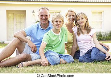 hem, utanför, dröm, familj, sittande