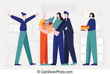 hem, van, collega's, zijn, vector, illustratie, het zien, pensioen