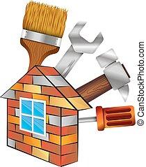 hem, verktyg, reparera
