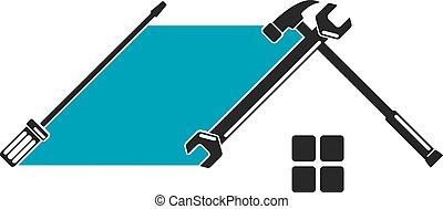 hem, verktyg, symbol, reparera