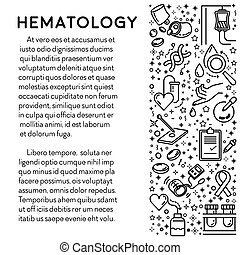 Hematology line icons on poster, blood research and lab ...